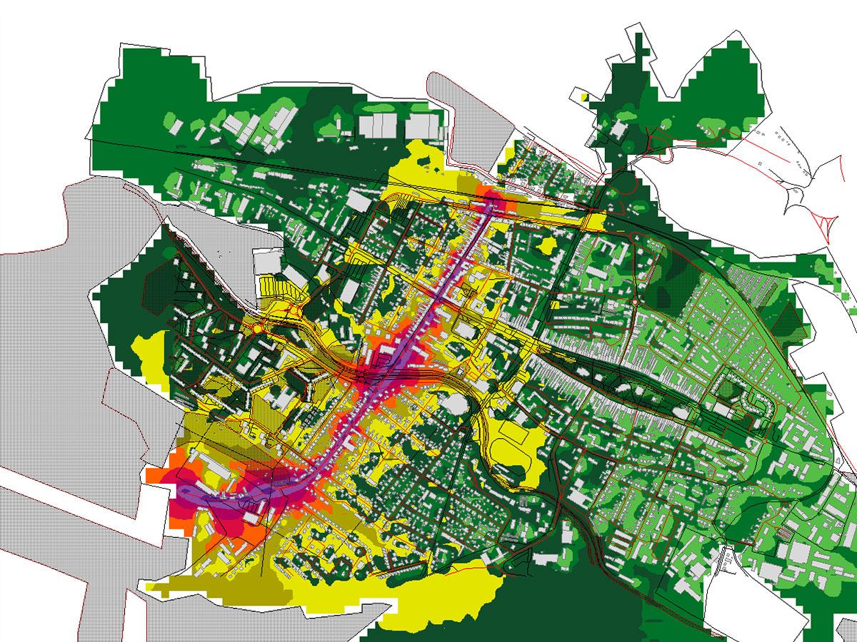 Hluková mapa mestskej radiály