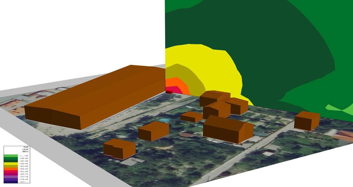 Zobrazenie vertikálnej hlukovej mapy šírenia hluku z chladiacej jednotky