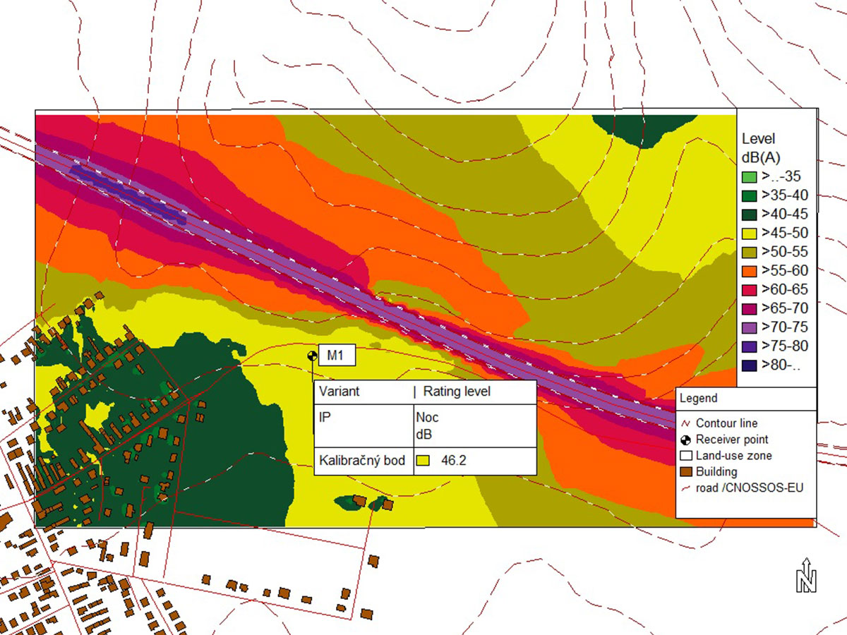 Hluková mapa znázorňujúca vplyv hluku z rýchlostnej cesty na nový bytový komplex
